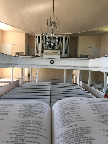 View from the elevated pulpit at First Congregational