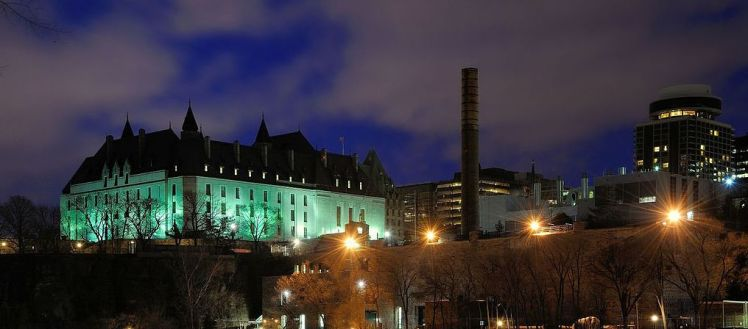 Supreme Court of Canada building at night