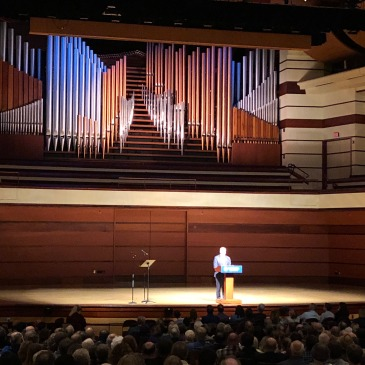 David Brooks speaking in Bethel's Great Hall