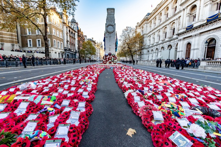 Poppy wreaths in front of the Cenotaph