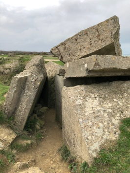 Ruined German bunker at Pointe du Hoc