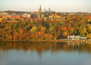 River view of Georgetown University's main campus