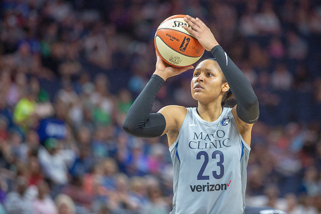 Maya Moore shooting a free throw in 2018
