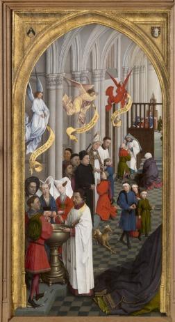 """Left panel of van der Wyden, """"Seven Sacraments"""""""