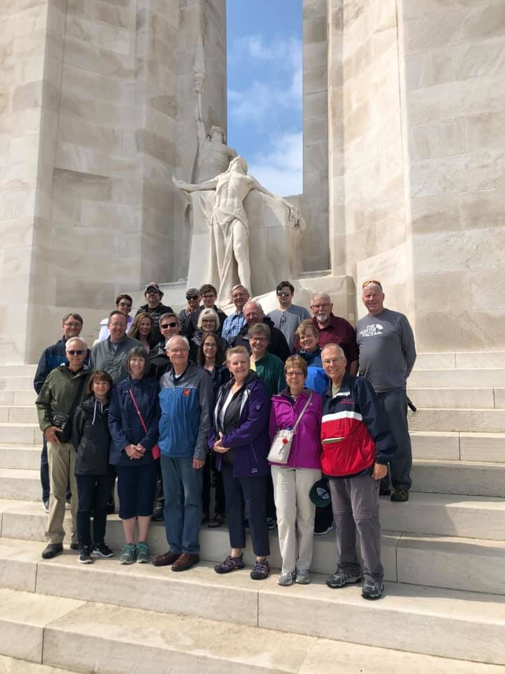 Our travel group on the steps of the Canadian Vimy memorial