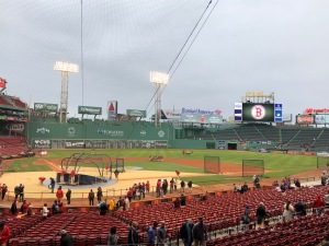 Field view from behind home plate at Fenway Park