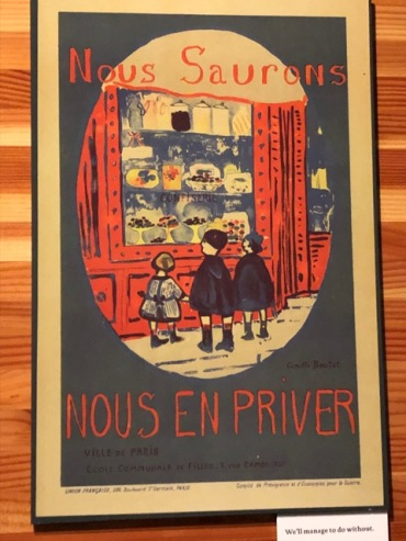 """We'll manage to do without"": French WWI poster showing school children looking fondly on sweets in a shop window: """