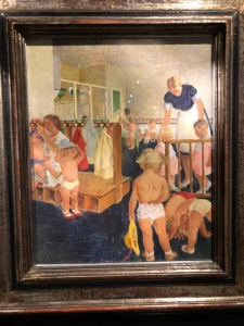Painting of children in a British nursery school during WWII
