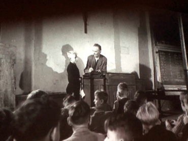 """Still photo from """"A Defeated People"""" (1946): a reopened school in the British occupation zone"""