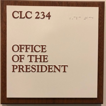 President's office sign at Bethel University