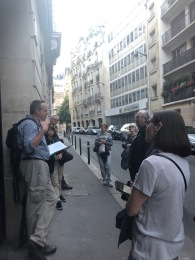Sam leading a walking tour of Paris sites where American expat writers like Ernest Hemingway and F. Scott Fitzgerald lived and worked in the 1920s