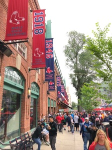 Red Sox banners outside Fenway Park