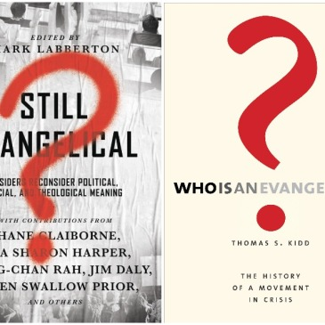 Covers of recent books about evangelicalism by Mark Labberton and Thomas Kidd