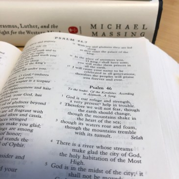 Psalm 46, with books by David Fitch and Michael Massing