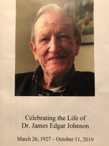 The cover of the program from Jim Johnson's memorial service