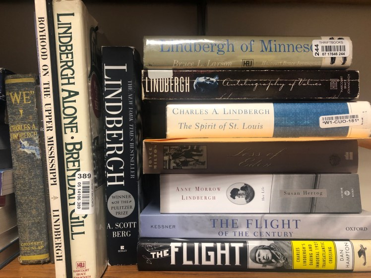Part of my collection of books by and on Charles Lindbergh