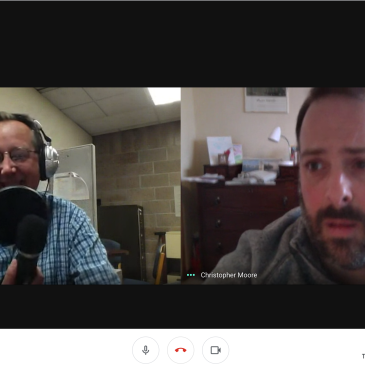 Screen shot of us recording the episode on a Google Hangout Meet