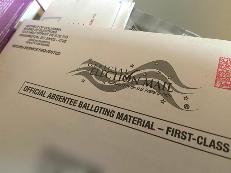 Absentee ballot in envelope